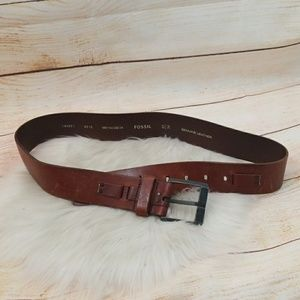 Fossil all leather belt tanish brown size 34